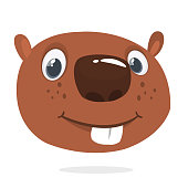 Cute cartoon beaver head icon smiling. Vector illustration.