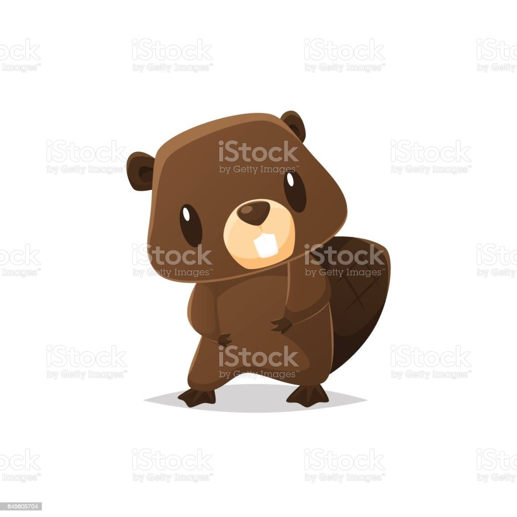 Cute cartoon beaver vector illustration vector art illustration