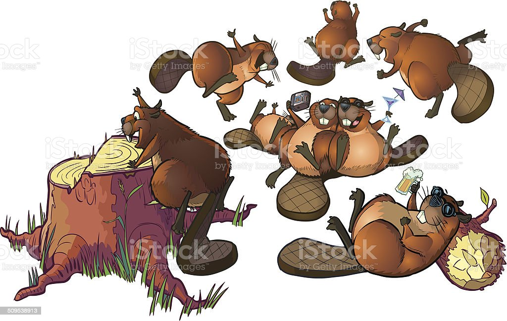 Cute Cartoon Beavers Party Vector Cartoon Clip Art vector art illustration