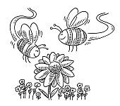 istock Cute Cartoon Bees Flying Around Flower Drawing 1318429361