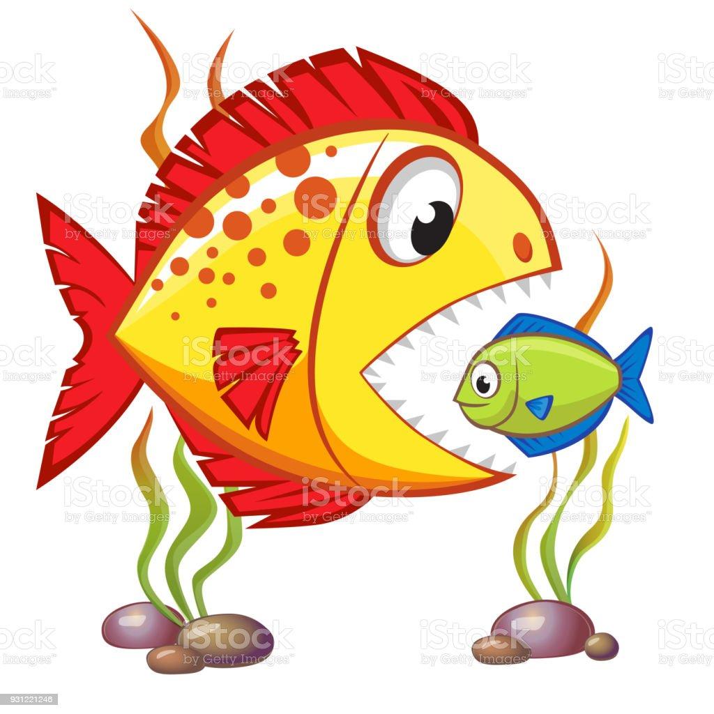 Cute cartoon big fish eat small fish business concept stock vector cute cartoon big fish eat small fish business concept royalty free cute cartoon big thecheapjerseys Choice Image