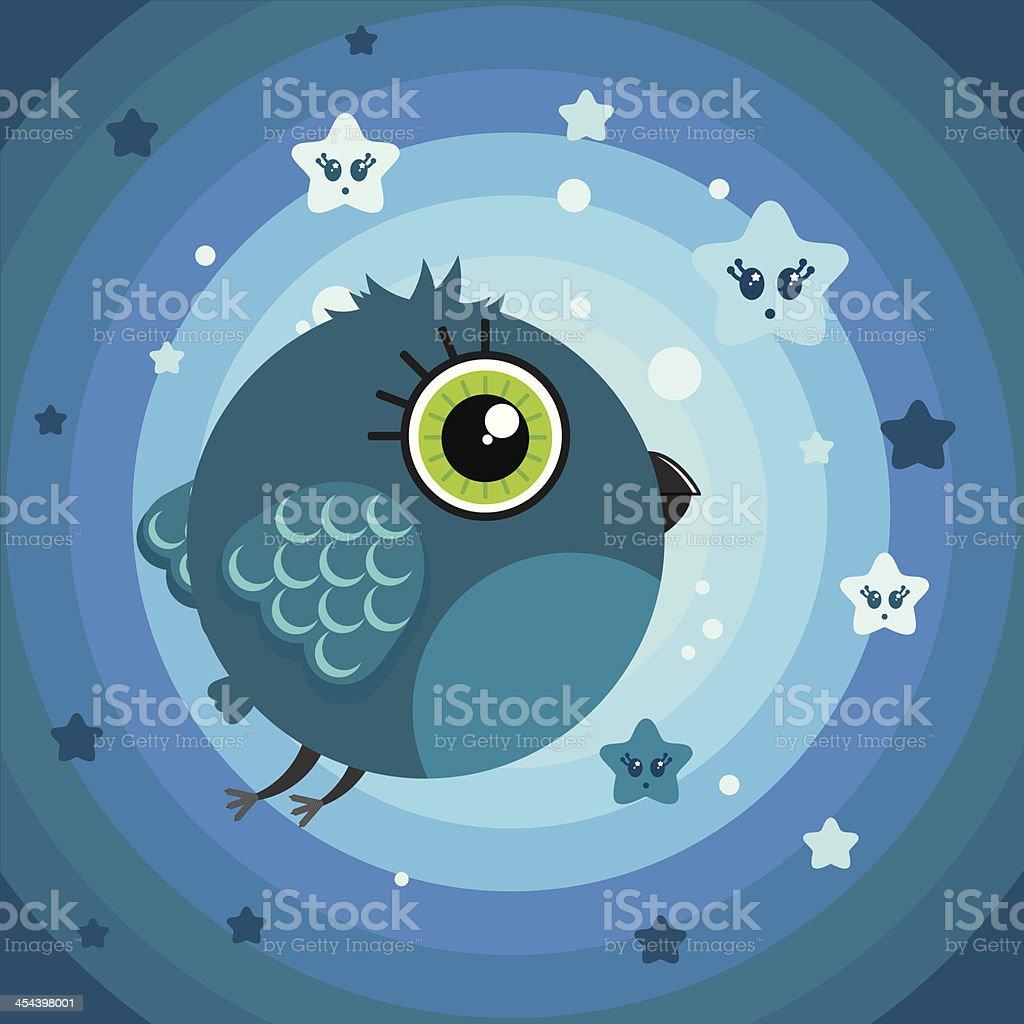 Cute cartoon bird character on the rainbow background. royalty-free stock vector art
