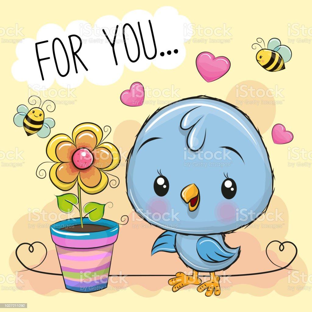 Niedlichen Cartoon Vogel mit Blume auf orangem Hintergrund – Vektorgrafik