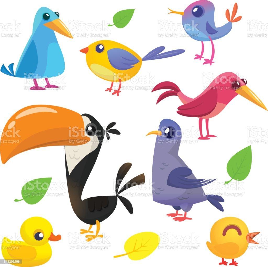 Vetores de Coleção De Aves De Bonito Dos Desenhos Animados ...