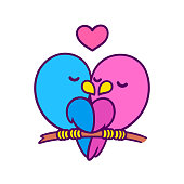 Cute cartoon birds couple kissing with heart. Pink female and blue male bird in love. Valentines day card vector illustration.