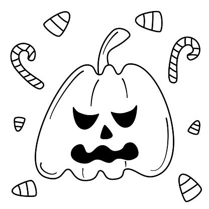 cute cartoon black and white character vector illustration with halloween pumpkin and candies for coloring art
