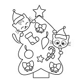 cute cartoon black and white christmas tree with cats funny vector holidays illustration for coloring art