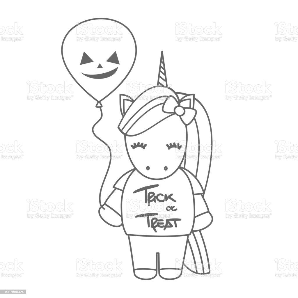 Dessin Animé Mignon Noir Et Blanc Halloween Vector