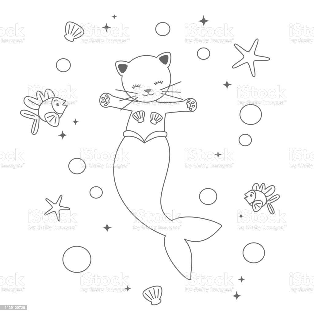 Kleurplaten Dieren Uit De Zee.Schattige Cartoon Zwartwit Zeemeermin Kat Onder De Zee