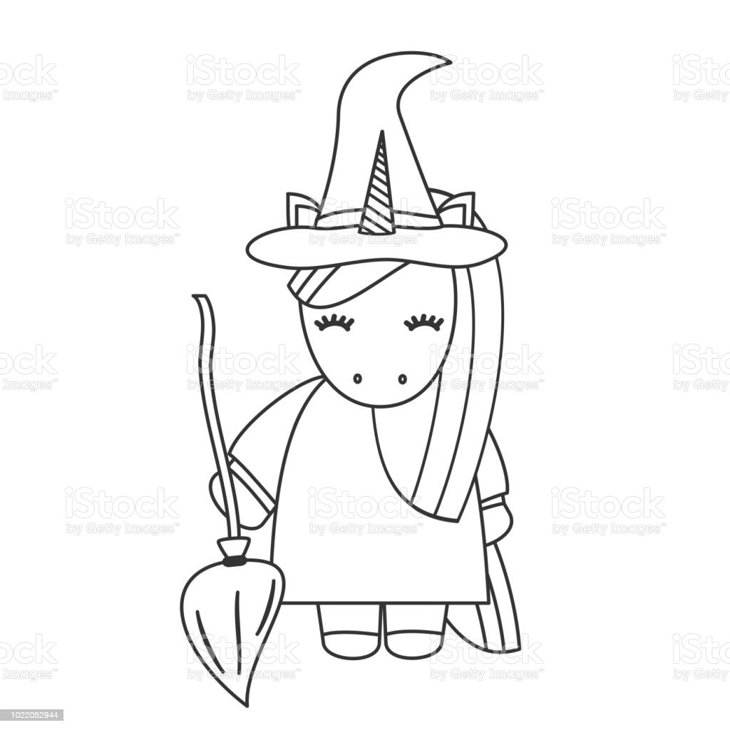 cute cartoon black and white unicorn witch with broom halloween