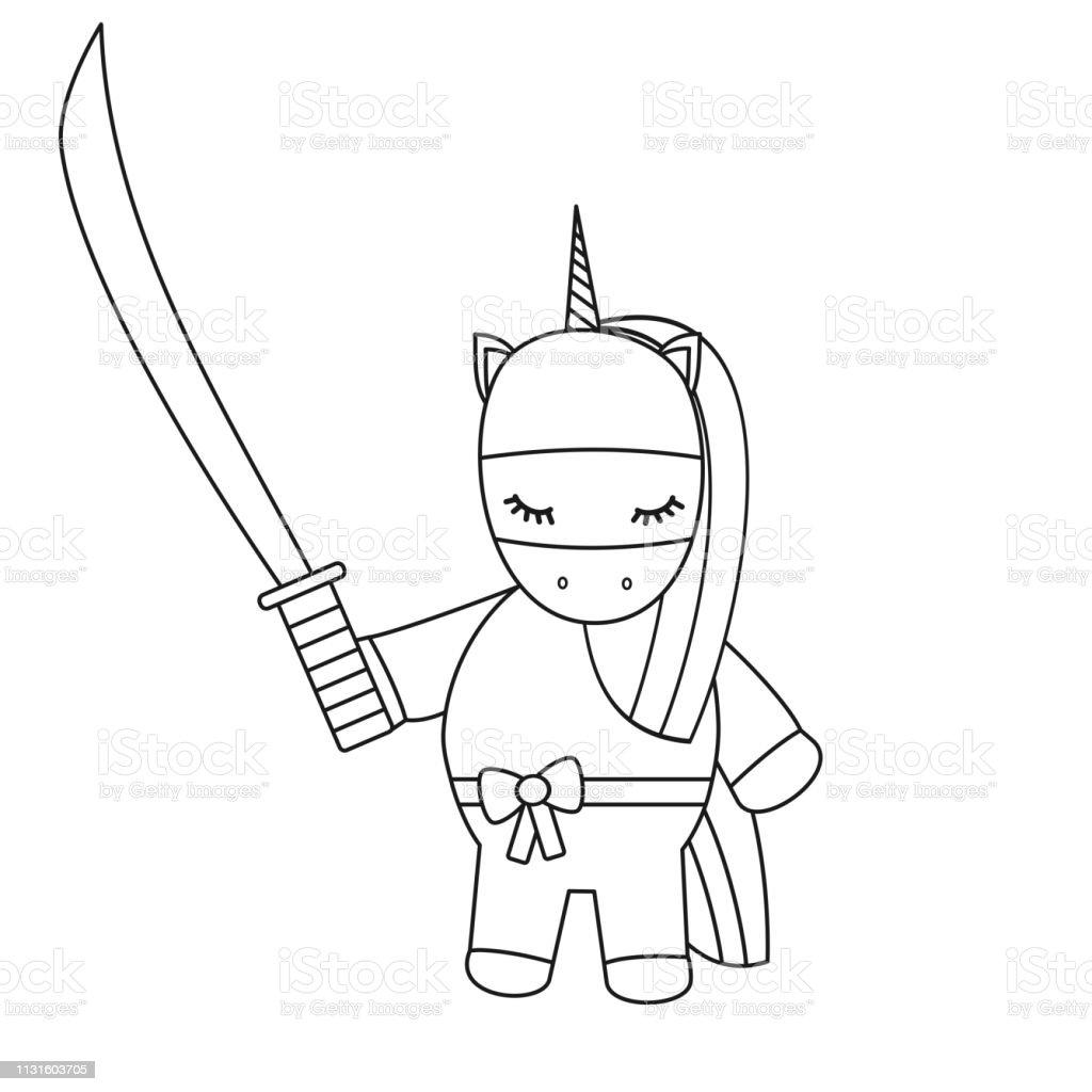 Mignon Dessin Anime Noir Et Blanc Vector Ninja Licorne Avec Epee Illustration Pour Art De Coloriage Vecteurs Libres De Droits Et Plus D Images Vectorielles De Arc En Ciel Istock