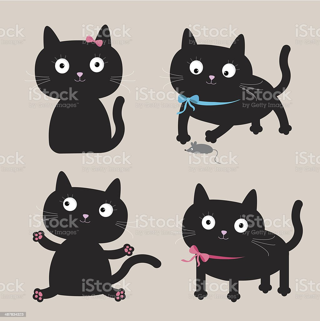 Cute cartoon black cat set. Funny collection. vector art illustration