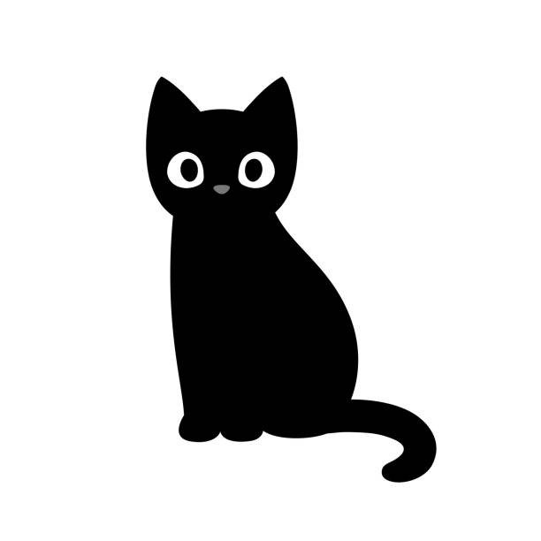 Cute cartoon black cat Cartoon black cat drawing. Simple and cute kitten silhouette, Halloween vector illustration. clip art stock illustrations