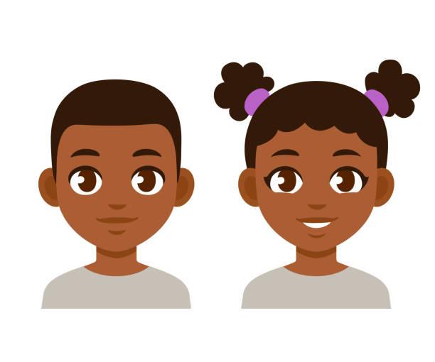 illustrazioni stock, clip art, cartoni animati e icone di tendenza di cute cartoon black children - bambine africa