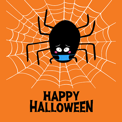 Cute cartoon black spider in blue medical mask with guilty look, white cobweb and happy halloween lettering on orange background. Halloween greeting card. Vector stock illustration.