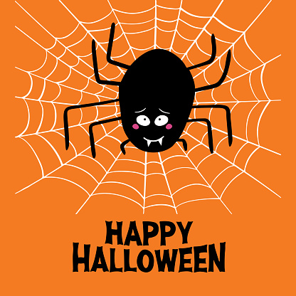 Cute cartoon black spider with guilty look, white cobweb and happy halloween lettering on orange background. Halloween greeting card. Vector stock illustration.
