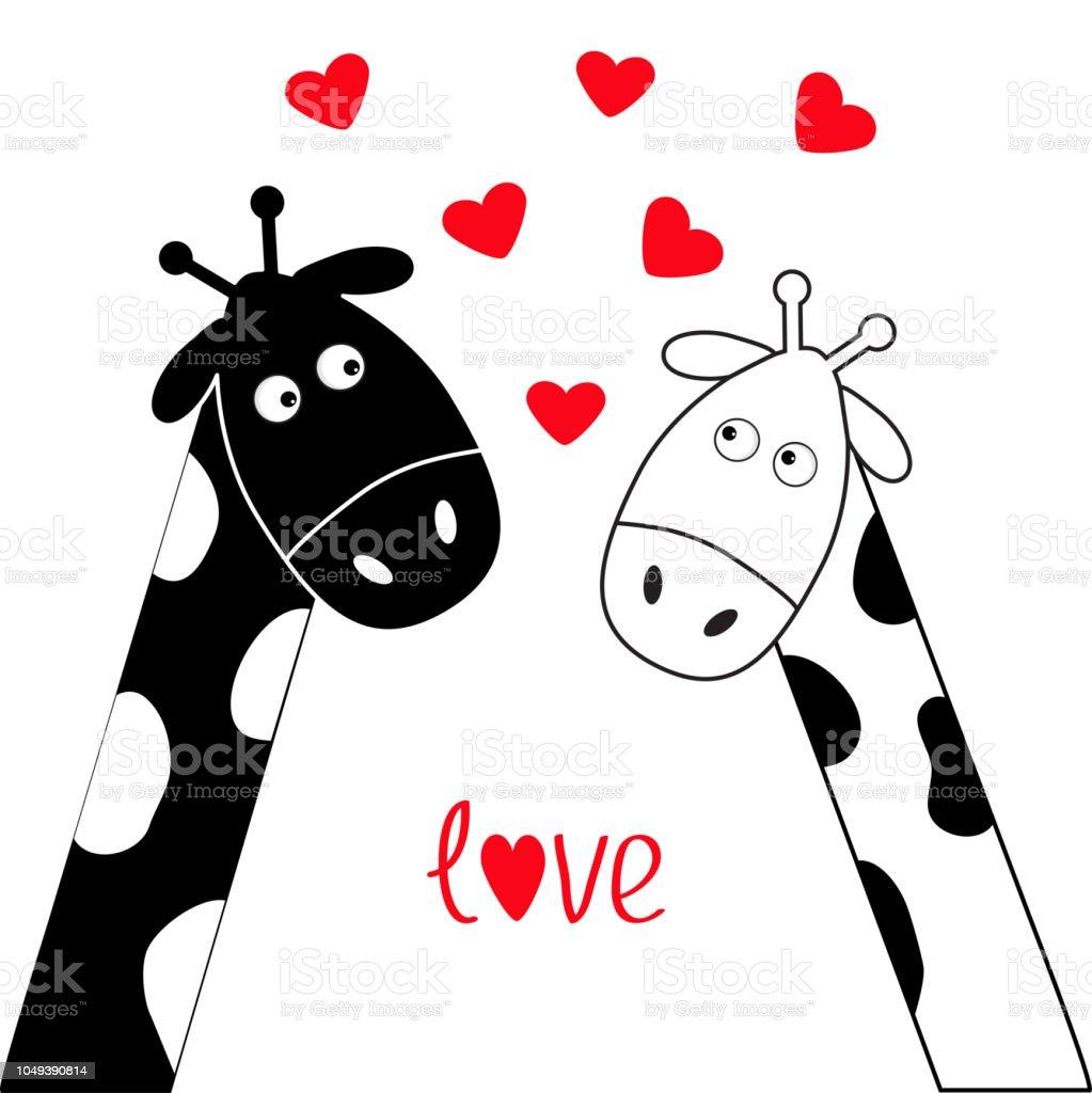 Dessin Anime Mignon Girafe Blanc Noir Garcon Et Fille Couple De