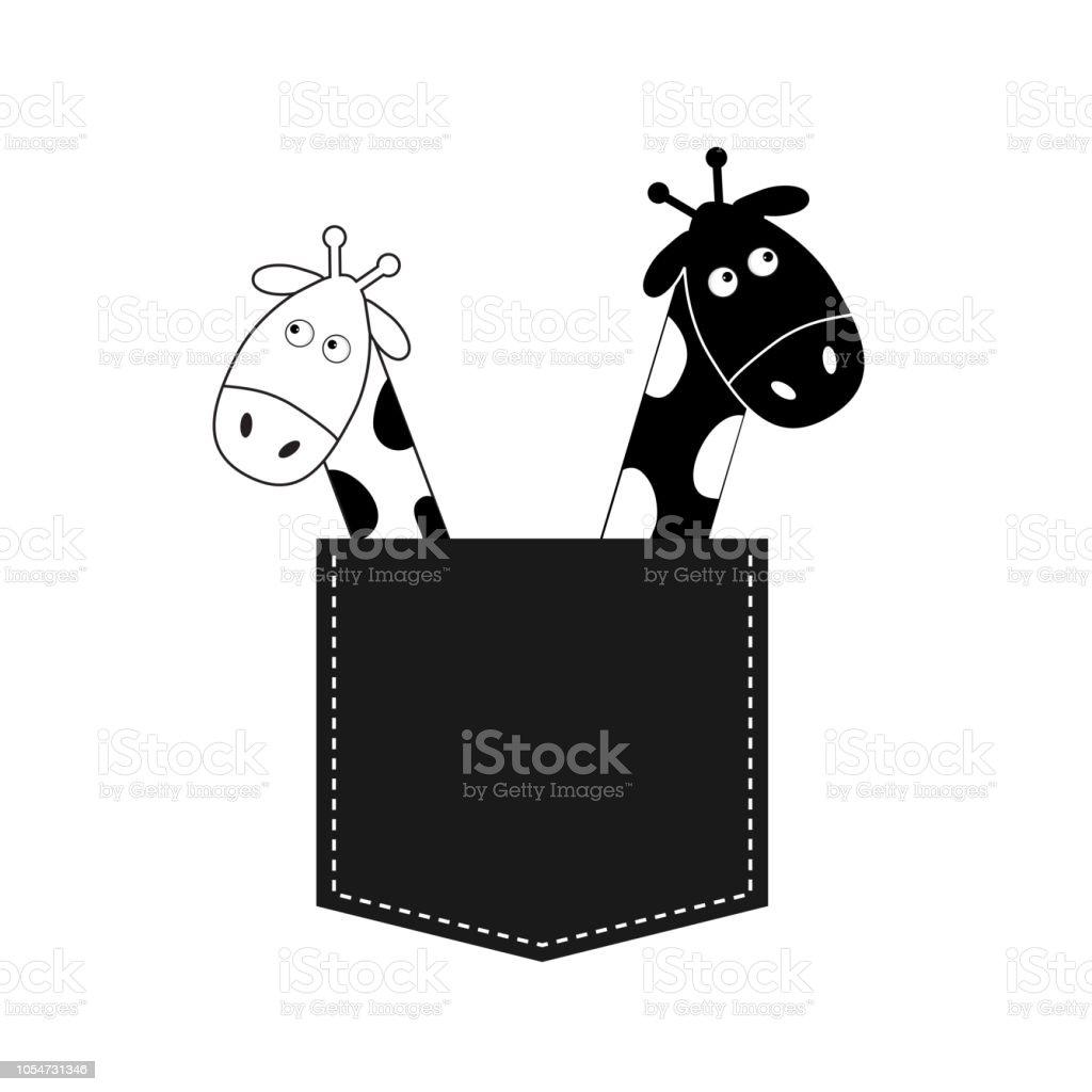 Dessin Animé Mignon Noir Blanc Girafe Dans Le Couple De