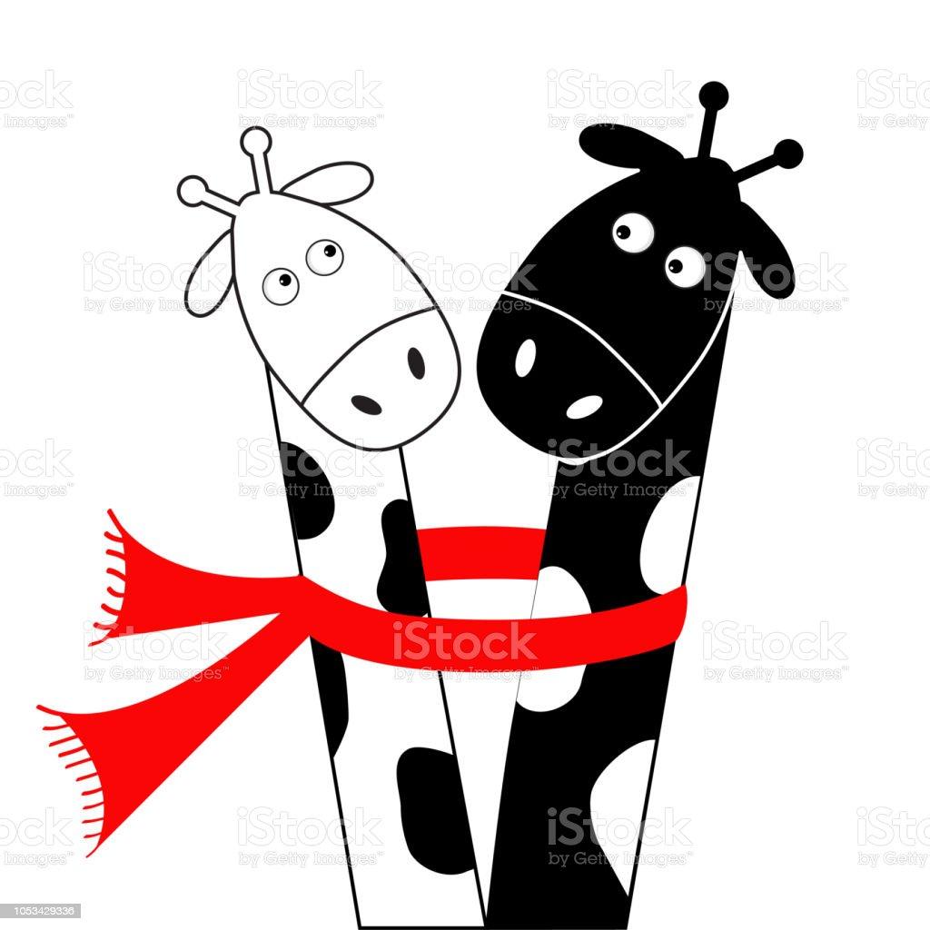 Girafe Blanche De Dessin Anime Mignon Noir Portant Une Echarpe Rouge