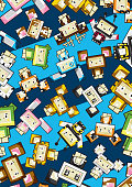 Adorably Cute Cartoon Blockimals Animal Characters in a Cool Pattern by Mark Murphy Creative