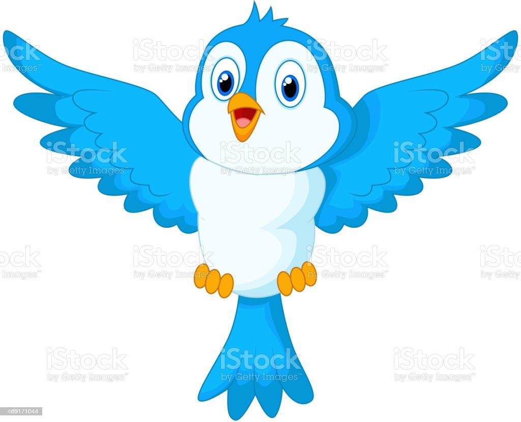 Cute cartoon blue bird flying vector art illustration