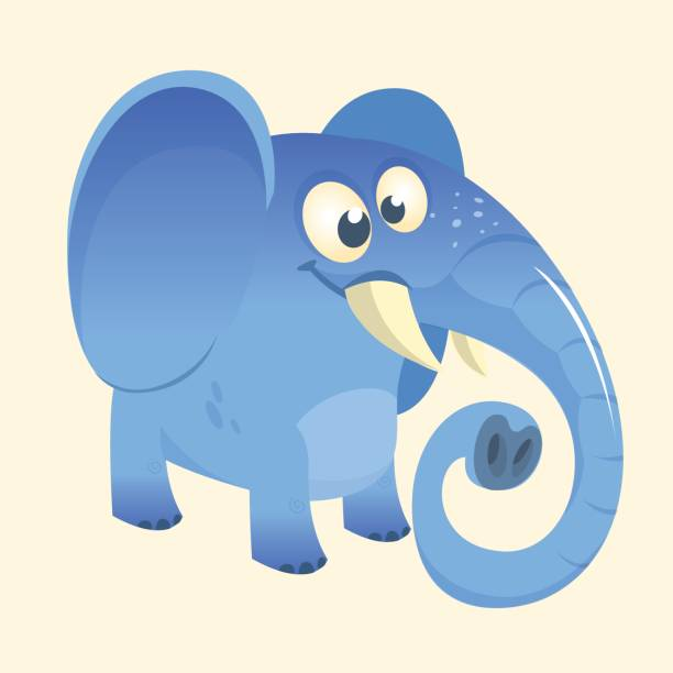 Cute cartoon blue elephant icon. Vector illustration with simple gradients.  Great design for print 2989f8c5e