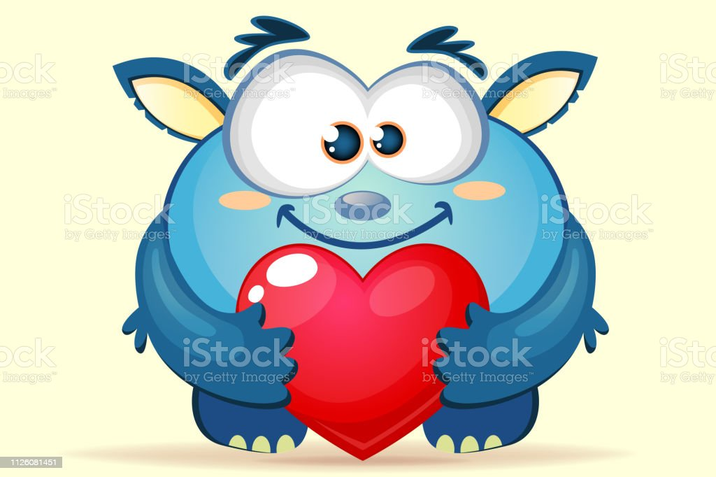 Vetores De Monstro Bonito Dos Desenhos Animados Azul Com Coracao E Mais Imagens De Alegria Istock