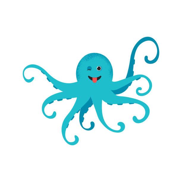 cute cartoon blue octopus drawing - octopus stock illustrations