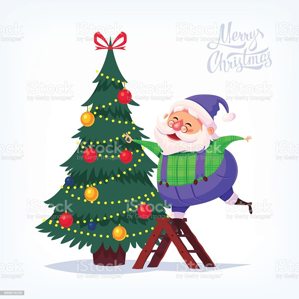 cute cartoon blue suit santa claus decorating christmas tree royalty free cute cartoon blue suit