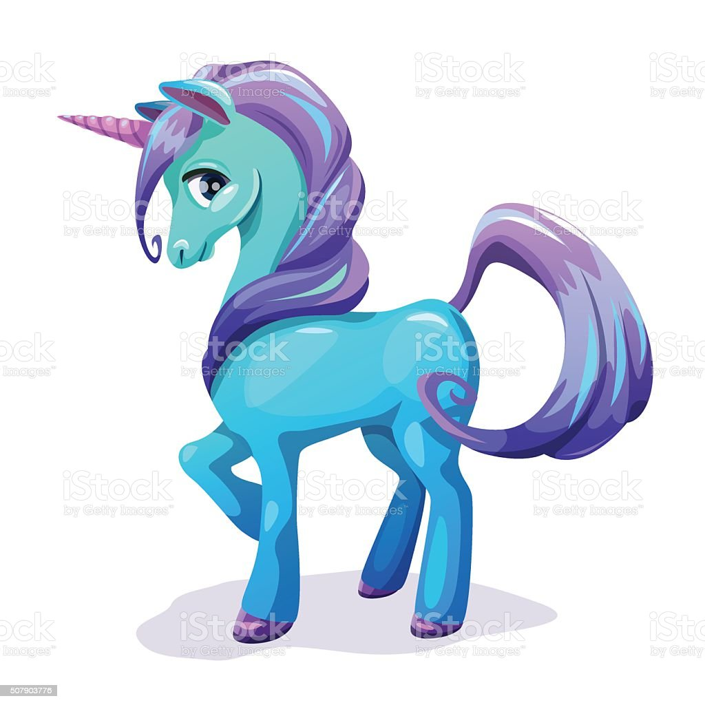 Cute cartoon blue unicorn with purple hair vector art illustration