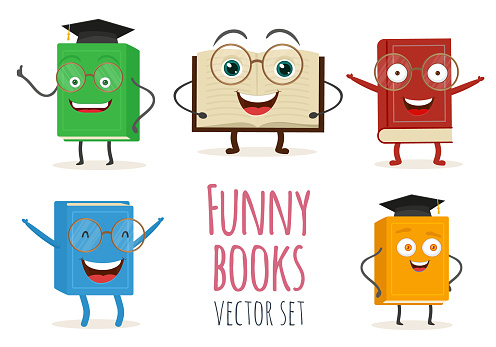 Cute cartoon book character with smiling faces and emotion. Vector illustration set icons isolated on white background. EPS 10.