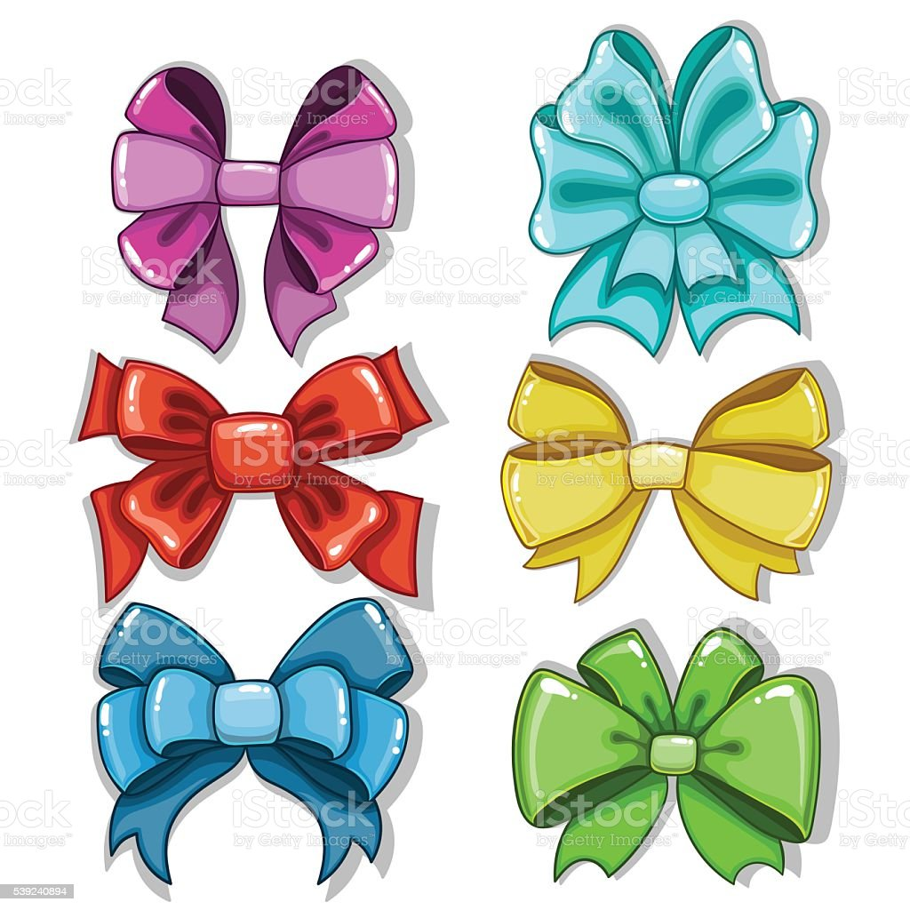 Cute cartoon bows of different shapes and colors royalty-free cute cartoon bows of different shapes and colors stock vector art & more images of anniversary