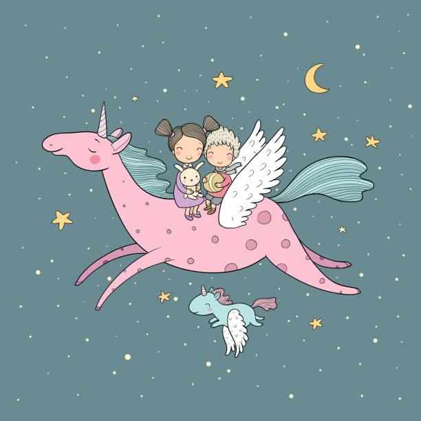 Cute cartoon boy and girl and unicorn. Kids fly on pegasus. Vector Vector illustration animal limb stock illustrations