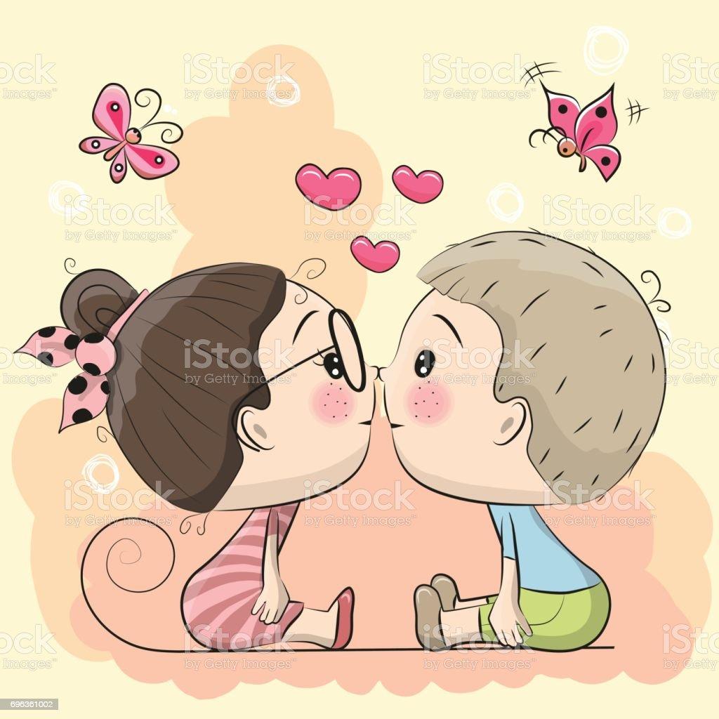 Vetores De Menina E Menino Bonito Dos Desenhos Animados Estao Se