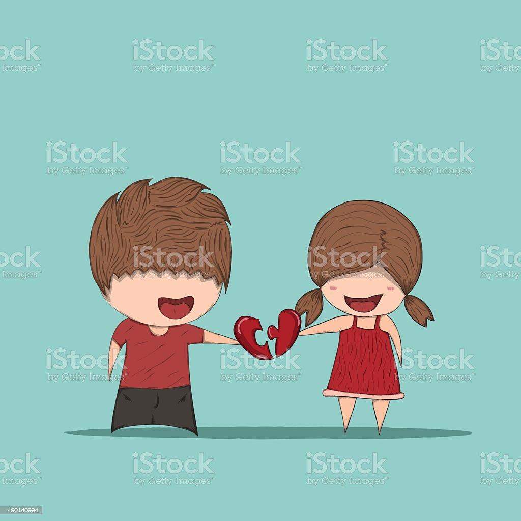 Dessin Amoureux Mignon mignon dessin animé garçon et fille couple en amour – cliparts