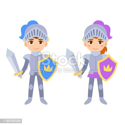 Cute cartoon medieval knight characters, boy and girl. Children in fairy tale knight costumes, isolated vector clip art illustration.