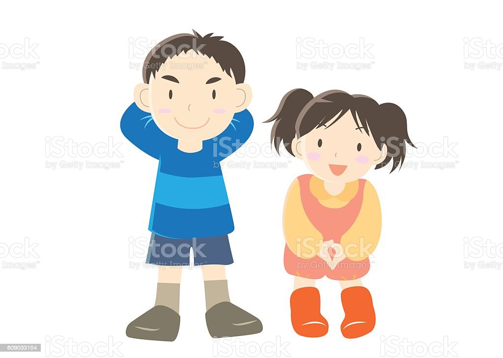 Cute cartoon boy and girl vector art illustration