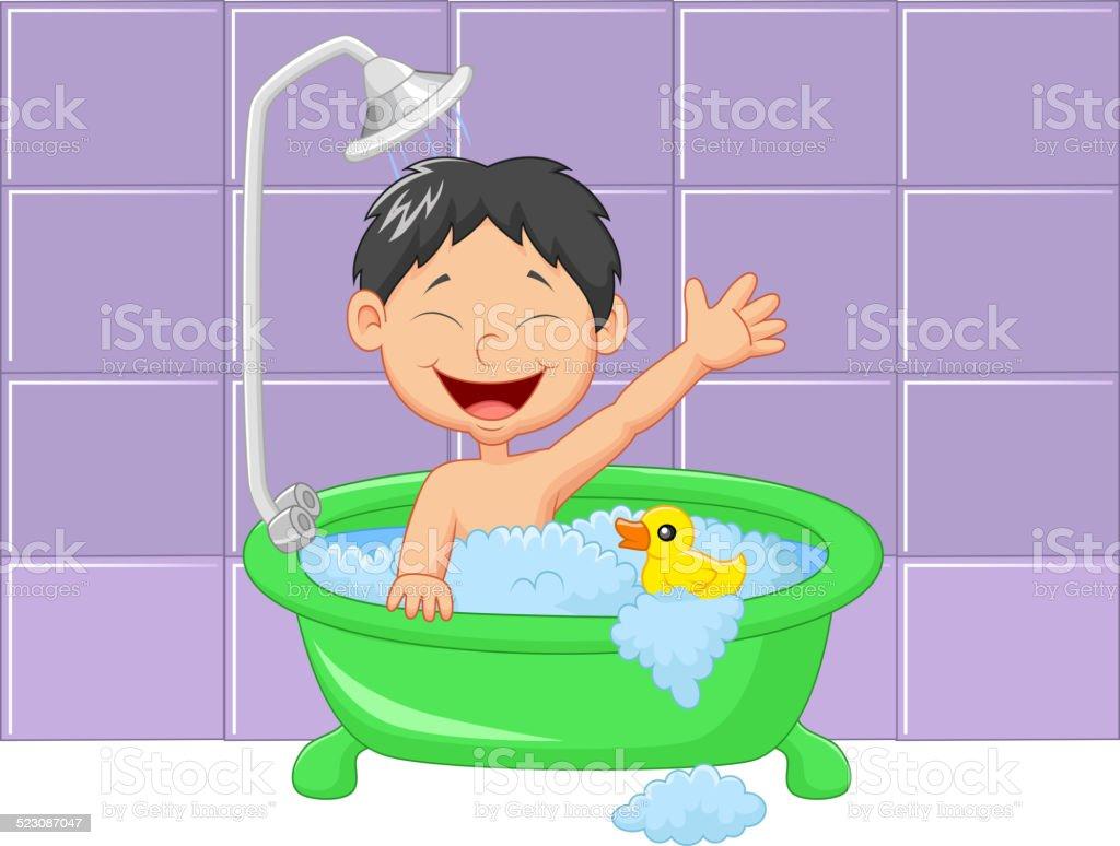Mignon Garçon En Dessin Animé Ayant Salle De Bains Cliparts - Salle de bain dessin