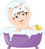 Cute cartoon boy having bath