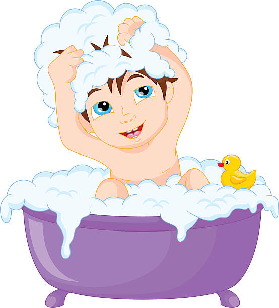 Taking A Bath Clip Art, Vector Images & Illustrations - iStock