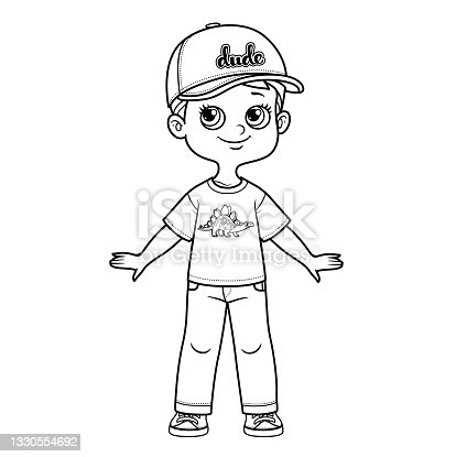 Cute cartoon boy in cap with visor, t-shirt and jeans outline for coloring on a white background
