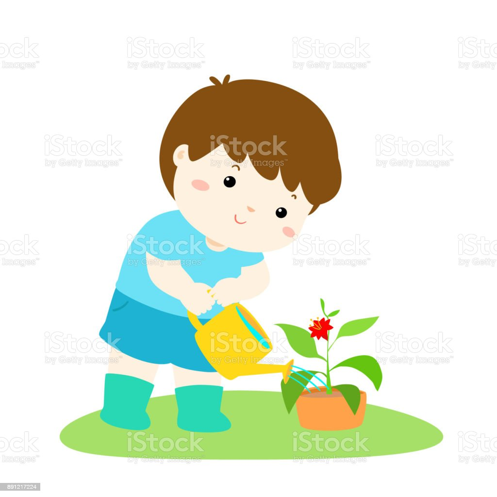 Cute Cartoon Boy Watering Plant Vector Stock Vector Art ...