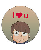 Cute cartoon boy with love emotions. Character vector illustration with heart