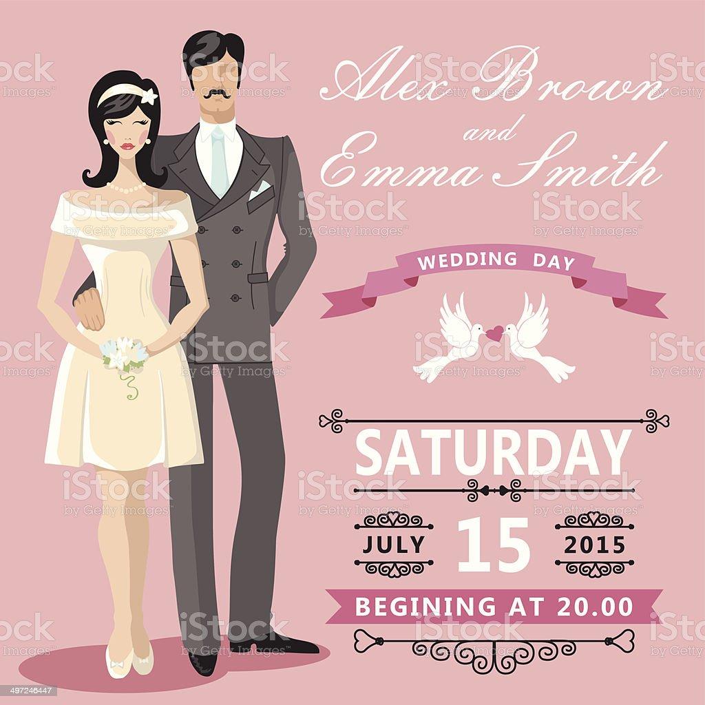 Cute Cartoon Bride And Groom Wedding Invitation Stock Vector Art ...