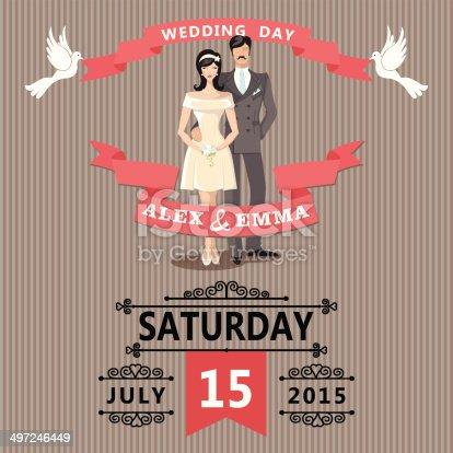 Cute Cartoon Bride And Wedding Invitation Clipart Images