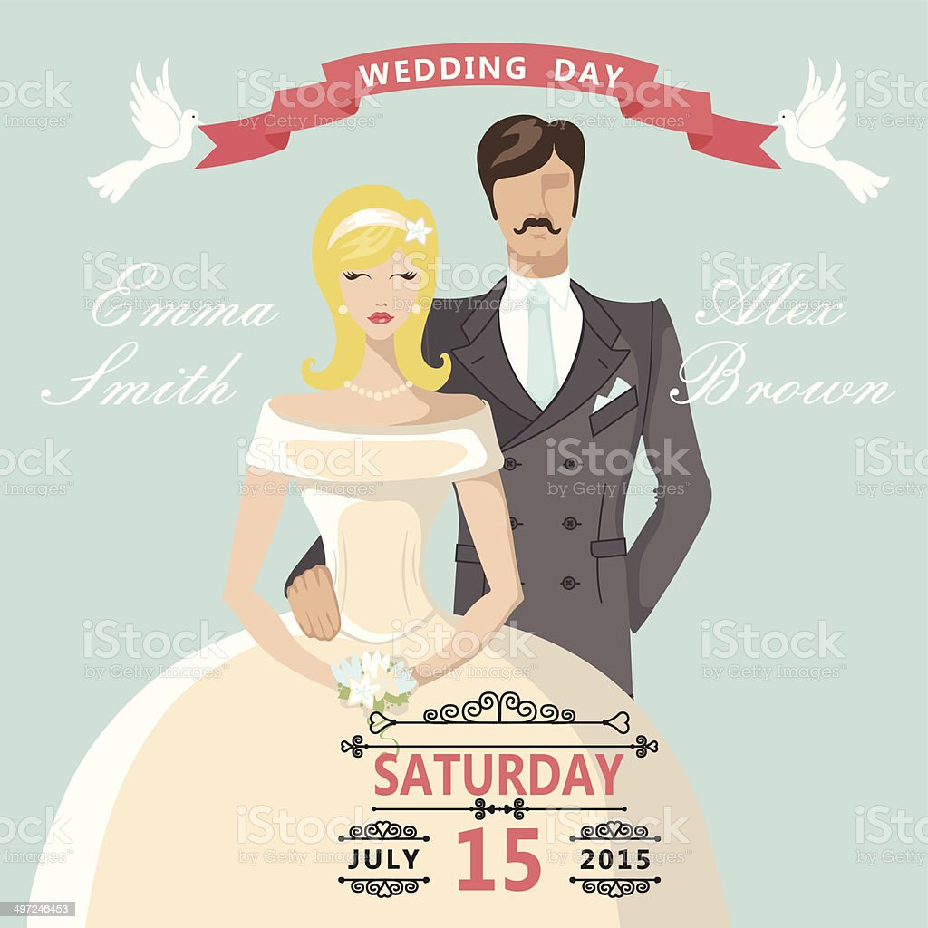Cute Cartoon Bride Groom Retro Wedding Invitation Stock Vector Art ...