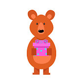 The cute brown bear stands with a pink gift box holding in arms. Funny bear life concept. Isolated vector illustration on white background in cartoon style.