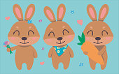 Cute cartoon brown smiling easter bunny vector collection set with flowers, hearts, carrot for children