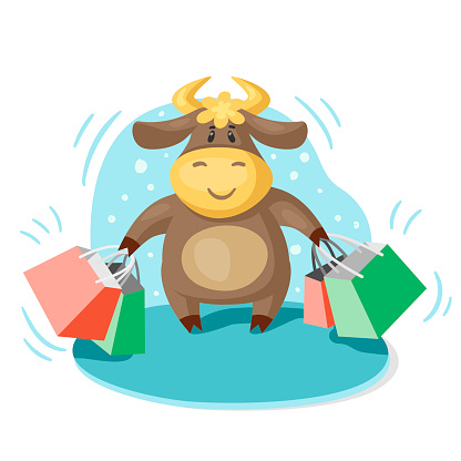 Cute cartoon bull, symbol of the new year 2012, with shopping bags