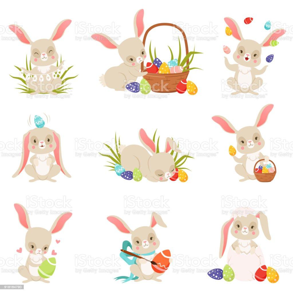Niedlichen Cartoon Hasen Halten Und Eiern Legen Lustig Kaninchen